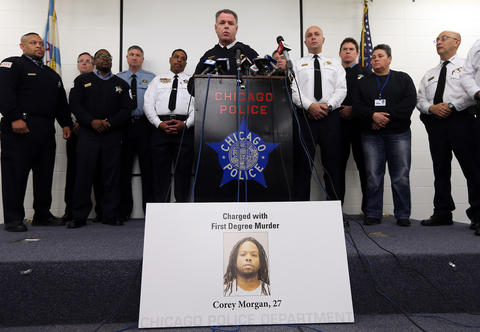 Chicago police Superintendent Garry McCarthy announces on Nov. 27, 2015, the arrest of Corey Morgan, 27, in the shooting death of 9-year-old Tyshawn Lee.