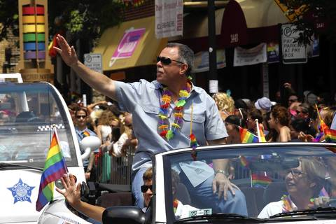 Police Superintendent Garry McCarthy rides in the Chicago Pride Parade on June 30, 2013.