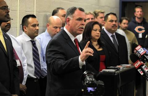 Chicago police Superintendent Garry McCarthy announces charges against two people in the killing of Hadiya Pendleton, 15, during a news conference on Feb. 11, 2013, at 2nd District headquarters.
