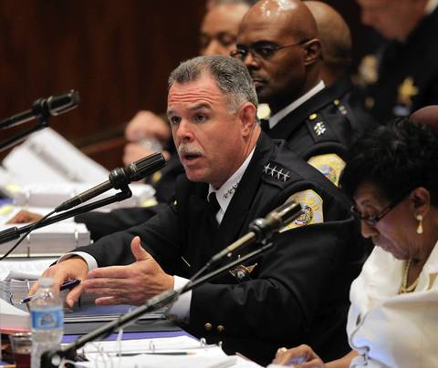 Chicago police Superintendent Garry McCarthy addresses the Budget Committee of the Chicago City Council on Oct. 24, 2012.