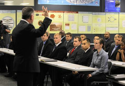 Police Superintendent Garry McCarthy welcomes a new recruit class to the Chicago Police Academy on July 2, 2012.