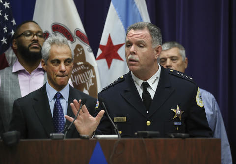 Chicago police Superintendent Garry McCarthy, right, joined by Mayor Rahm Emanuel, speaks during a news conference regarding the shooting death of Laquan McDonald on Nov. 24, 2015.