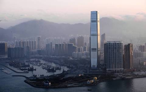 No. 6 The International Commerce Centre (ICC) in Hong Kong rises 1,588 feet. Occupying the 102nd to 118st floors is the world's highest hotel -- the Ritz-Carlton.