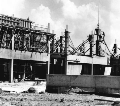 August 1968: An overhead crane bucket pours concrete for one of the new buildings at Harper College in Palatine.