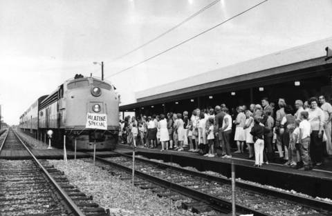 September 1971: The Palatine Special, a commuter train, arrives at the opening ceremonies of Palatine's new station.