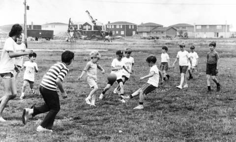 June 1972: Children enjoy a game of soccer, part of the Palatine Park District's recreation program.