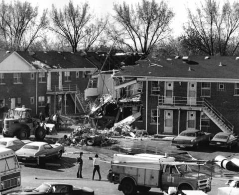 April 1976: The Cedar Garden Apartments in Palatine after a natural gas explosion injured six people and caused extensive damage to the building.