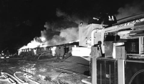 June 1973: Firefighters battle an extra-alarm blaze at the old gym at Harper College.