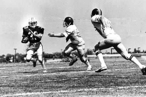 September 1983: Harper College's Luis Gonzalez runs for more yards in a game against Grand Rapids Community College.