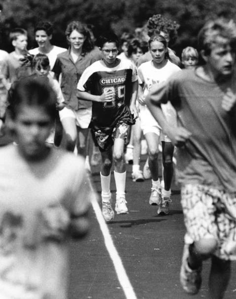 July 1987: Young limbs work out at Palatine's Ost Field in the park district's summer track program for junior high and beginning high school students.