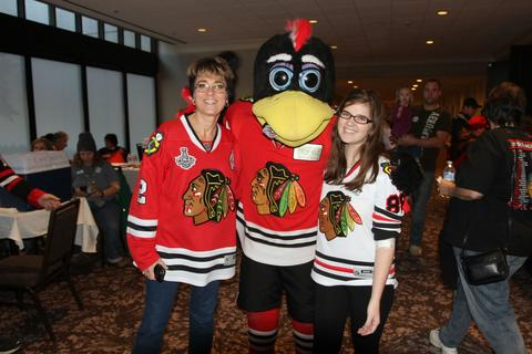 Amy Urso of Lombard (left) and Melissa Golden of Rolling Meadows both donated blood at the annual LifeSource Holiday Blood Drive with the Chicago Blackhawks Dec. 19 at The Westin O'Hare in Rosemont.
