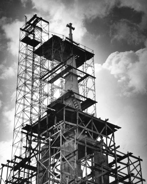 Crews work on the $1.5 million Faith, Hope and Charity Catholic Church in 1961, which is under construction at Linden Avenue and Hill Road in Winnetka.