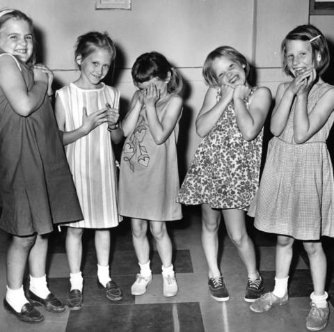 Young actors practice showing emotion in preparation for the Winnetka Children's Fair in 1964, where about 200 children will perform in various plays.