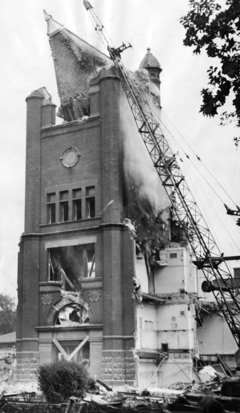 The tower of New Trier High School in Winnetka is razed in 1969.