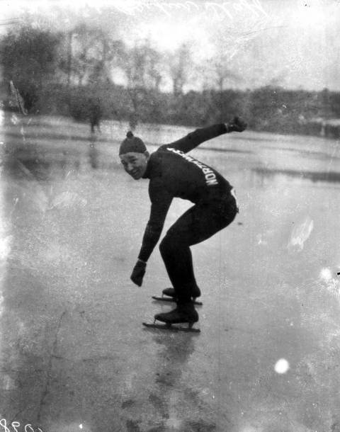 Arthur Staff, 18, of the Northwest Skating Club in Chicago at the Humboldt Park lagoon in 1916.