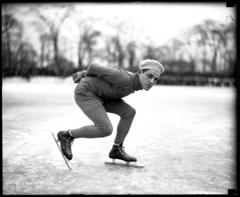 American Olympic speedskater, Eddie Schroeder, was a product of Chicago's South Side and a member of the Walton Arrow Athletic Club in Chicago. Schroeder won a spot on the Illinois Western Skating Associations 1931 team to tryout for the Olympics when he was just 19. Schroeder was only 5 feet 4 inches and weighed 130 pounds. He went on to make three U.S. Olympic speedskating teams.Undated photo.