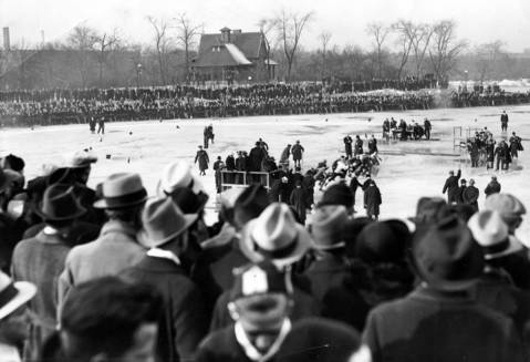 """A general view of the ice skating rink on the Garfield Park lagoon on Jan. 12, 1936, shows part of the crowd of 30,000 who watched the running of the Tribune's 19th annual Silver Skates Derbies. """"Despite warm weather, the meet was the most successful in the event's history,"""" according to the Tribune."""