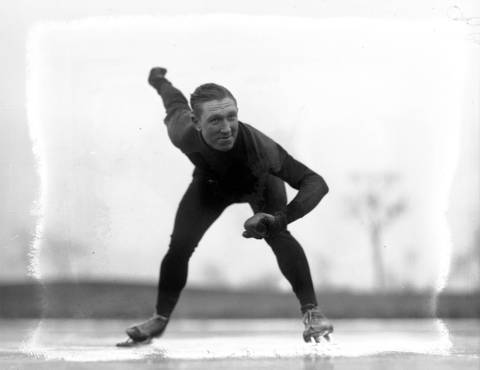 Al Kucera was a well-known Chicago speedskater with the Henry Athletic Associationin1934. Kucera represented Chicago at an Olympic skate team tryout in Lake Placid in 1931. Editors note: There is damage to the glass-plate negative.
