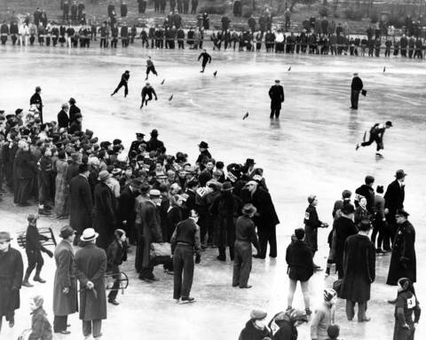 Four classes competed in the preliminary speedskating races in the Tribune's annual Silver Skates Derbies on Jan. 13, 1940, at Garfield Park in Chicago. This is the boys juvenile division.