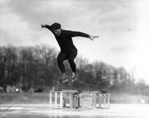 Bob McLean, who learned to ice skate on Chicago's west side parks, was a world champion speedskater. McLean was elected into the Speedskating Hall of Fame in 1964. McLean is seen here in1934 when he was 39-years-old.