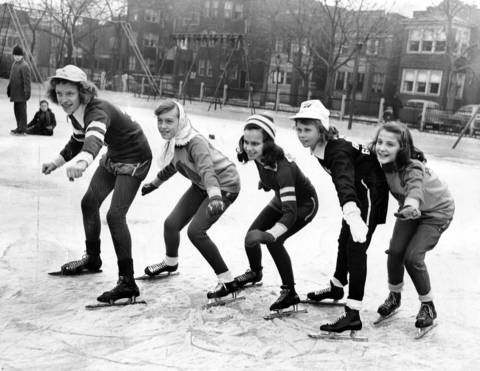 Juvenile girls in the annual Silver Skates competition are, from left, Betty Kanaby, 13, Lorraine DuPont, 13, Rosemary Fahrenbach, 13, Barbara Geiger, 12, and Sue Crawford, on Jan. 15, 1948.