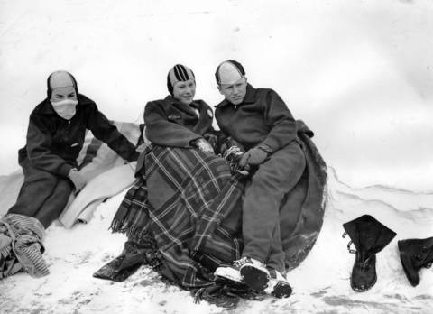 Three Silver Skates candidates, Buddy Weinstock, from left, Jim Kinne, and George Michel warm up between races on Jan. 13, 1957, during an ice skating tournament in Elgin. The three will represent Northbrook Skating Club in competition for the Silver Skates Derbies.