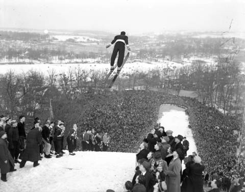 Approximately 20,000 spectators showed up for the annual Norge Ski jump tournament in Fox River Grove, Ill., on Jan. 16, 1938 on the banks of the Fox River. Birger Ruud, of Norway, is shown here making one of his two jumps of 172 and 181 feet that won him the international title. Ruud was a two-time Olympic champion with Norway's Olympic ski team.