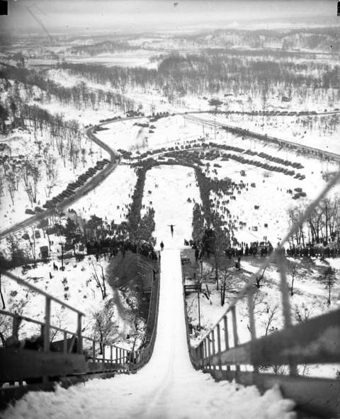 A general view of the Ogden Dunes Ski Club event in Ogden Dunes, Ind., in 1932. Norwegian Birger Ruud, an Olympian, holds the record long jump for this hill at 195 feet, which he completed in 1932.