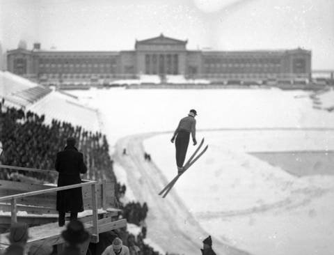 The first ever Chicago Ski Tournament held at Soldier Field on Feb. 16, 1936. A huge slide was erected on the South end of the lake front arena. An unemployed road worker from Minnesota, Eugene Wilson, 22, won the tournament with a 68 foot jump. A snowstorm prevented the skiers from making attempts on the steel slide, which was erected over the permanent stands in the south end of the arena.