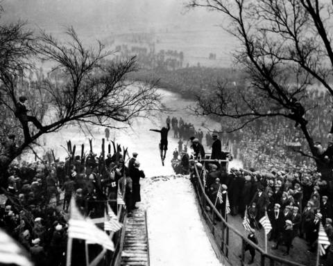 Approximately 30,000 people turned out for the first-ever Chicago Tribune junior ski jump tournament on Jan. 4, 1931, at Riis Park in Chicago. Joe Sedivec of the Fox Athletic Club, one of the 71 boys who competed in the meet, jumps after a spin down the hill.