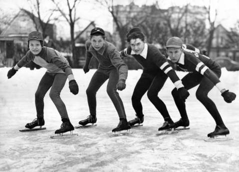The 26th Silver Skates Derbies happened on Jan. 16 and 17 in 1942 at Garfield Park. These four boys took advantage of the cold weatherin1942 to start practicing in Mozart Park. They are, from left, Roy Parker, Ken Henry, Buddy Solem, and John Klemundt.