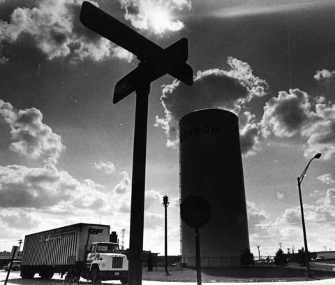 September 1983: A truck rolls along Vista Avenue near Winthrop Avenue in Addison, symbolizing the area's status as the fourth largest manufacturing municipality in the state. The sprawling industrial park is the largest in DuPage County.