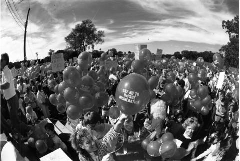 September 1988 DuPage County residents launch balloons in September 1988 near Argonne National Laboratory to protest a county planning committee's suggestion that a garbage incinerator be built there. The residents said the path of the balloons would indicate the direction airborne pollution would take.