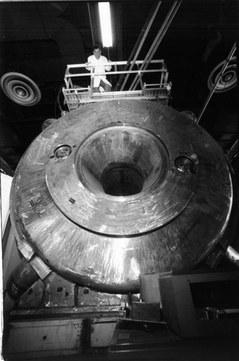 December 1989: Engineer Lyle Genens with the world's largest superconducting dipole electromagnet at Argonne National Laboratory in 1989. Magnetic propulsion will be studied as a way to power ships.