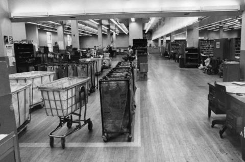 March 1970: A once busy Berwyn mail room resembles a ghost town during a letter carrier strike.