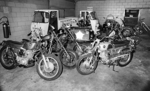July 1971: Motorcycles stolen by 25-year-old Berwyn police officer Donald Norek sit in the department's garage after he was arrested for the thefts.