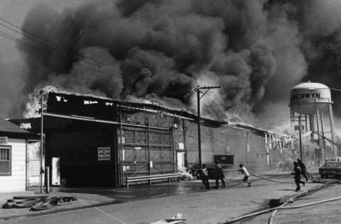April 1977: Suburban and Chicago firefighters try to contain a massive blaze at the Berwyn Lumber Company.