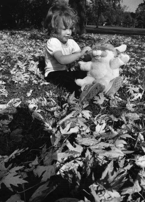 October 1986: Jennifer Taylor, 3, enjoys the company of a stuffed animal while playing amid autumn leaves on a summer-like day in Berwyn.