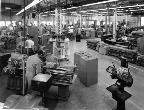 April 1950: Argonne National Laboratory's first central machine shops, which contained facilities for turning out unique pieces of research equipment.
