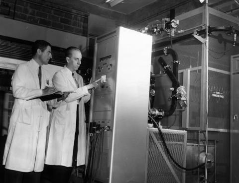 June 1954: One view of the Vole Linear Accelerator installed in the University of Chicago Argonne Cancer Research Hospital. Using radar waves to carry the electrons down a 16-foot tube, the device uses electricity at a rate to supply a town of 10,000 people.