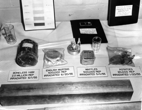 "August 1955: Food used in a test at Argonne National Laboratory. Items were dipped into a huge ""swimming pool"" irradiator to test the ability of atomic energy to preserve them without cold, heat or chemicals."