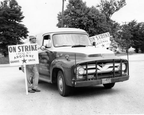 June 1957: A supplier's truck refuses to cross the picket line during a strike by Argonne National Laboratory's 105 guards.