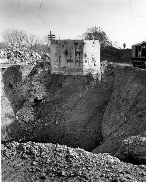 June 1956: Red Gate Woods Forest Preserve was home to part of the top-secret Manhattan Project, the United States' effort to build an atomic bomb. This 1956 photo shows one of Red Gate's nuclear reactors, Chicago Pile 3, soon before it was buried on the spot.