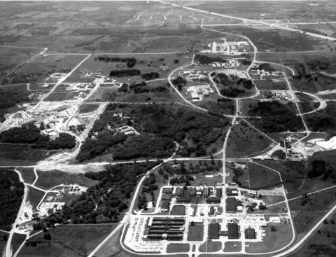 November 1963: Part of the 3,700-acre tract of land near Lemont, where Argonne National Laboratory studies atomic energy. More than 4,800 men and women, of whom 1,200 are scientists and engineers, comprise the staff at work in the many phases of research and production at the laboratory.
