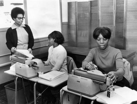 March 1970: A supervisor, left, watches over students Annie Millsap, left, and Gladys Caston during a typing lesson, as part of Argonne's Black Employment Program.