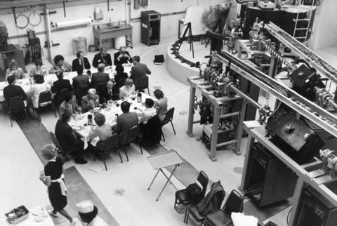 May 1985: Reporters and scientists eat breakfast in the target area of the world's first superconducting heavy-ion accelerator at the Argonne National Laboratory in Lemont. The accelerator was dedicated the following month.