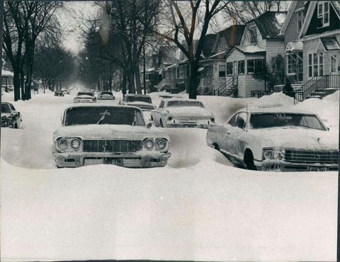 Cars are stuck on Chicago side streets after the 1967 blizzard that started on Jan. 26, and continued through the following day.