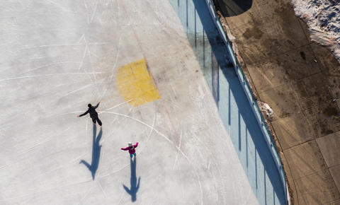 People enjoy the ice rink at Midway Plaisance in Chicago on Jan. 27, 2016.