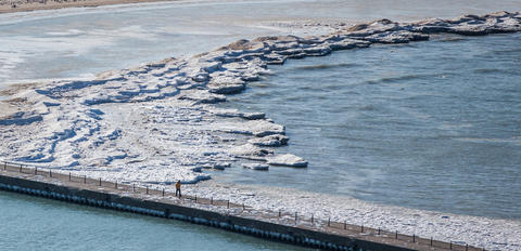 Aerial view of ice in Lake Michigan at Montrose Harbor in Chicago on Jan. 27, 2016.