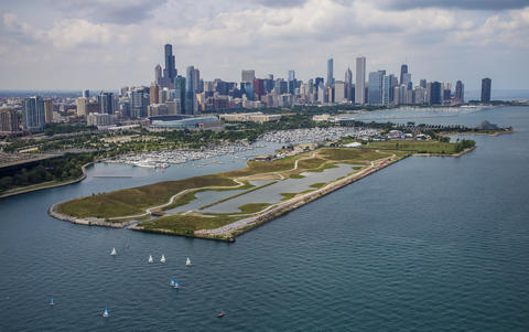 Northerly Island and the skyline on Aug. 18, 2015.